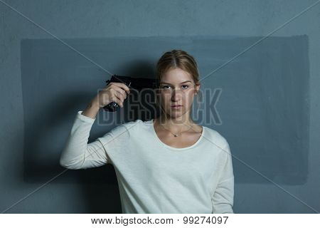 Hopeless Girl Holding Firearm