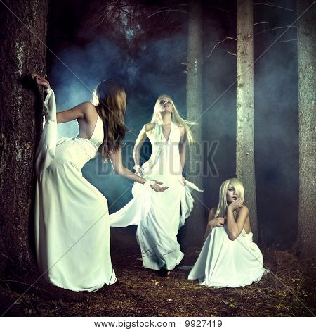 Three Nymphs In The Forest