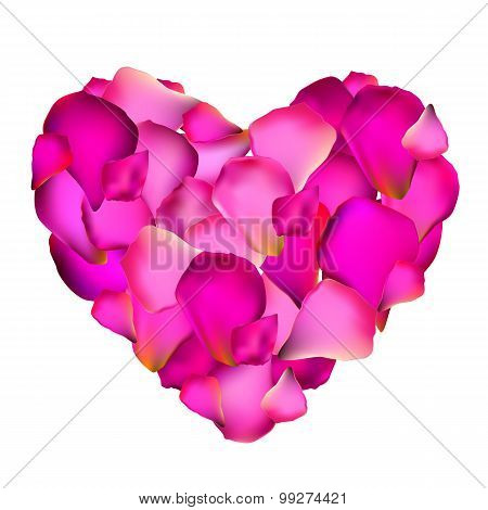 Heart from Rose Petals Vector Illustration
