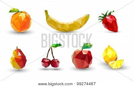 Fruit set of polygons . Apple, lemon , cherry, banana, orange, s