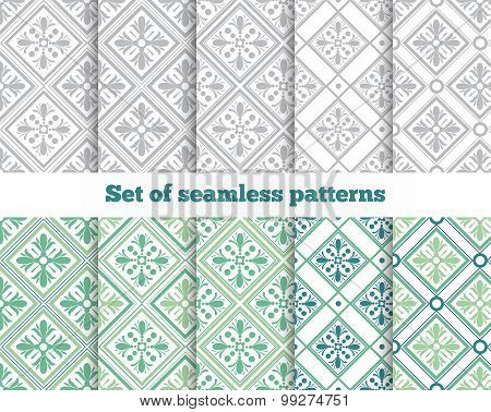 Geometrical seamless pattern. Gray, green, tile. Vector illustra
