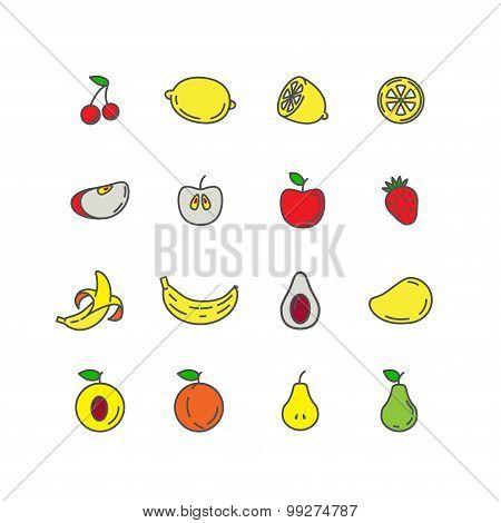 Set color line icons fruit. Banana, apple, strawberry, cherry, p