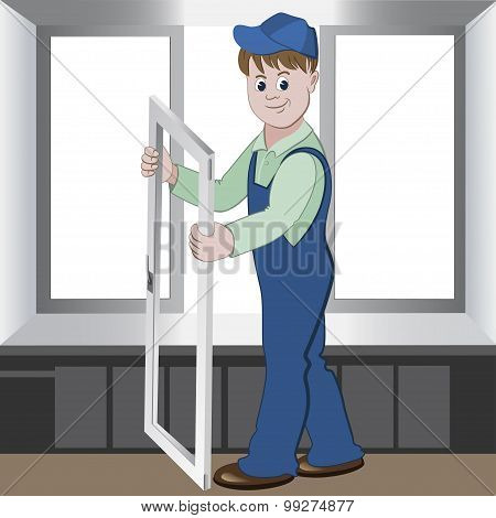 Worker Installs Or Repairs Plastic Window