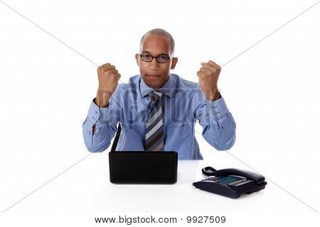 Young Attractive African American Businessman, Clenched Fists