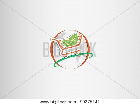 background  leaf on shopping cart