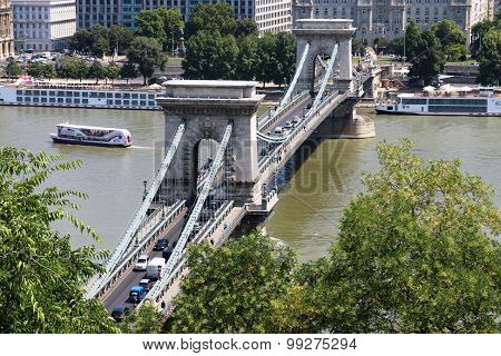 Budapest, Hungary, Europe, Travel, Buildings, River, Chain Bridge  Budapest, Hungary - July 2015: Af
