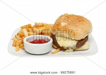Cheeseburger And Chips