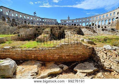 Interior view of the Roman amphitheater, Pula, Croatia