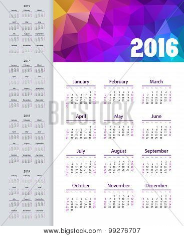 Calendar 2015, 2016, 2017, 2018, 2019 Year. Week Starts From Sunday. Vector Illustration