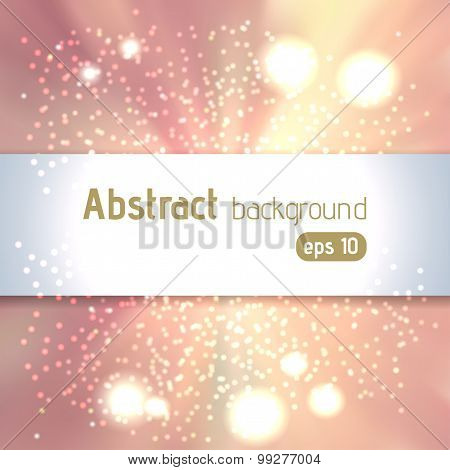 Abstract Light Pink, Beige Bokeh Background, Vector Illustration