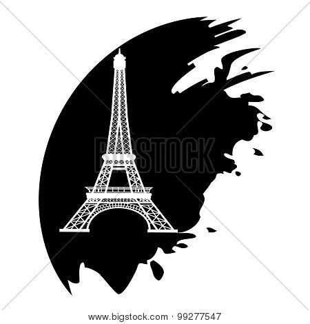 Eiffel Tower In Paris, France - Black Icon Isolated