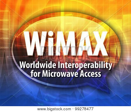 Speech bubble illustration of information technology acronym abbreviation term definition WiMAX Worldwide Interoperability for Microwave Access