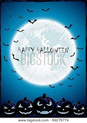 Halloween Pumpkins With Moon And Bats