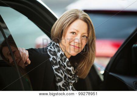 Optimistic Female In Car