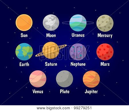 Set of Planets vector illustration
