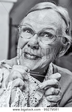 Silly Old Lady With Crochet