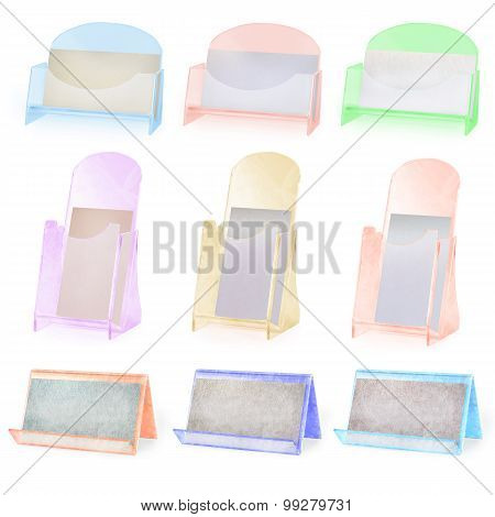 Set Of Colored Business Card Holders