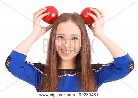 Girl Keeps On Head A Apple