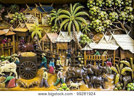 Thailand wood carving art