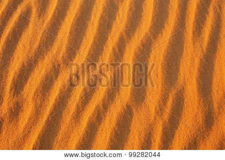 Desert Sand Background. Golden Desert Into The Sunset