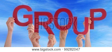 Many People Hands Holding Red Word Group Blue Sky