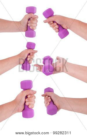 Six Pink Dumbbells In Hand (six Clipping Path)