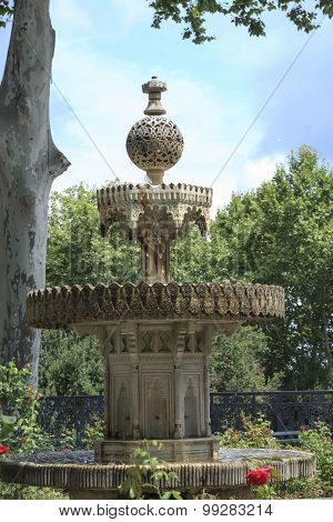 Exquisitely Carved Of Marble Tiered Fountain