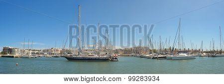 Hotels and yachts at Lagos Marina Portugal.