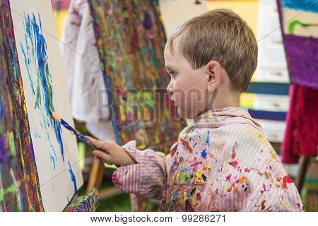 Little Boy In Art Class