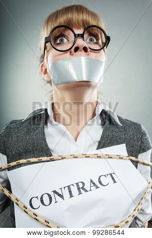 Scared Woman Bound By Contract With Taped Mouth.