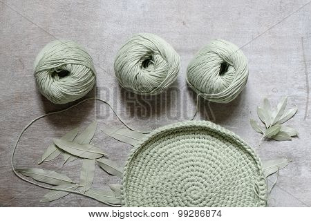 Three Skeins Of Yarn For Knitting