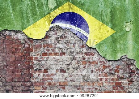 Brazilian Flag On Grungy Wall