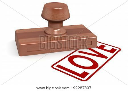 Wooden Stamp Love With Red Text