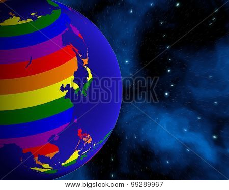 Earth From Space. Continents Colored In Lgbt Colors.