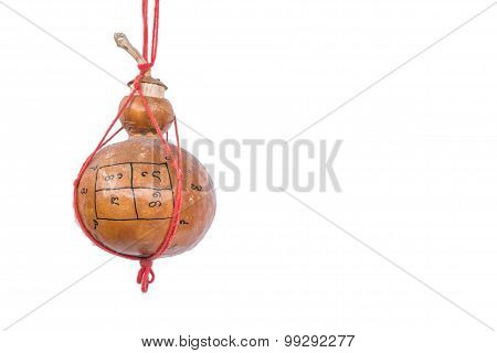 old bottle gourd charm with Thai magic letter