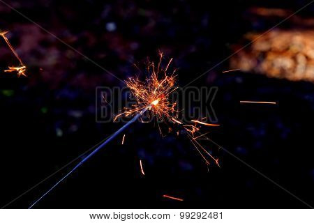 Hand Holding A Sparkler Fire