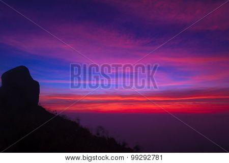 Colorful Of Sunrise Scene With Mist On Mountain At Doi Mokoju Thailand