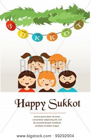 family in the sukkah . sukkot Jewish holiday