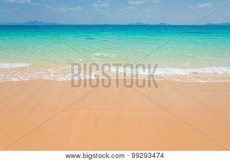 Tropical Sand Beach Of Andaman Sea Thailand.