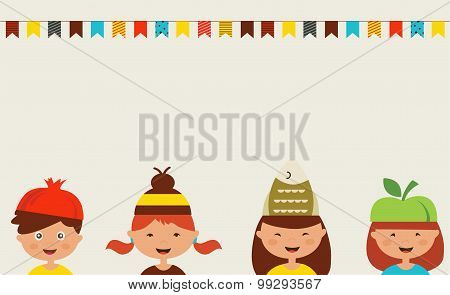 invitation for costume party. Kids wearing different hats