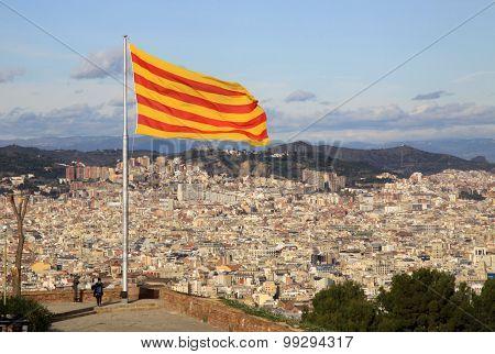 Catalonia Flag In Montjuic Castle, Barcelona, Catalonia, Spain