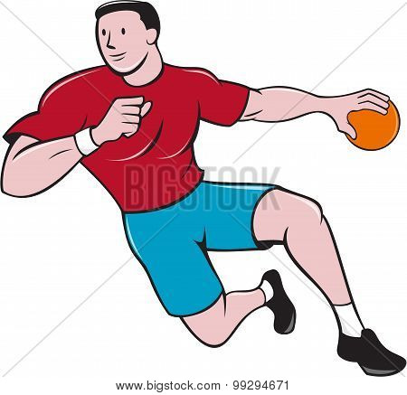 Handball Player Throwing Ball Cartoon