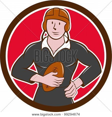 Vintage Nz Rugby Player Hold Ball Circle Cartoon