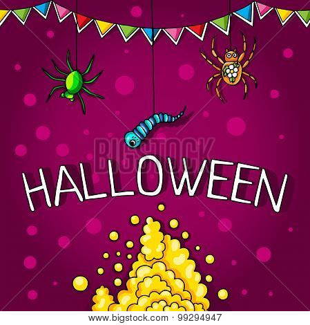 Postcard, poster for Halloween. Holiday magic, spiders, worms, spider webs. The flags for decoration