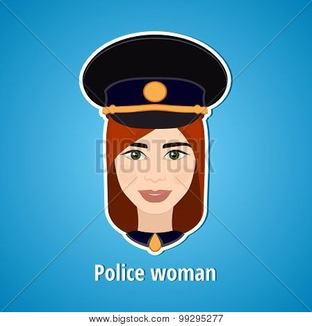 Vector illustration of a girl police. Woman police. The girl's face. Icon. Flat icon.