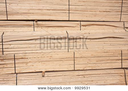 Wooden Planks Waiting For Transport To The Factory