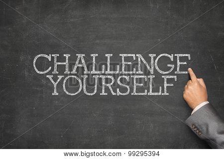 Challenge yourself text on blackboard