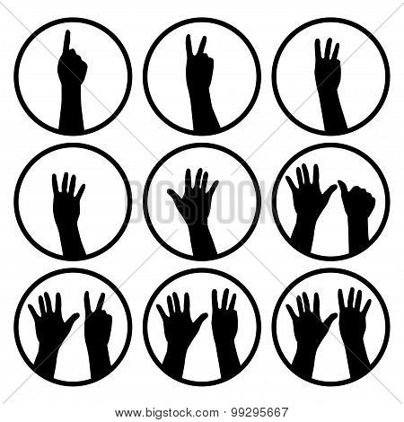 Black Hands Counting From 1 To 9.