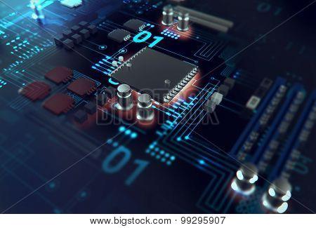 Futuristic Blue Circuit Board Background Illustration