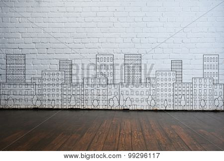 abstract architecture drawing on the wall.